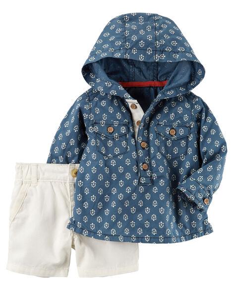 2-Piece Hooded Shirt & Canvas Short Set