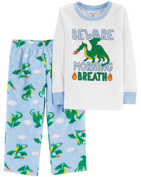 4846892fce24 2-Piece Dragon Snug Fit Cotton   Fleece PJs