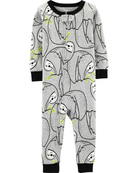 e7b547e08 1-Piece Sloth Snug Fit Cotton Footless PJs