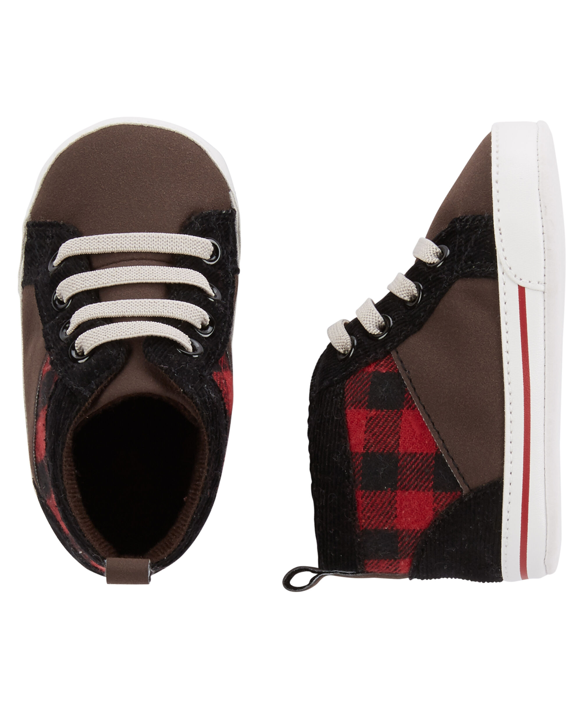 Baby Boy OshKosh Plaid High Top Crib Shoes