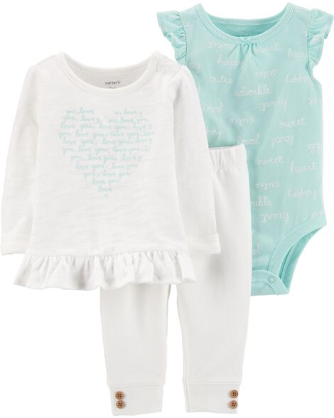 3-Piece Heart Top & Pant Set
