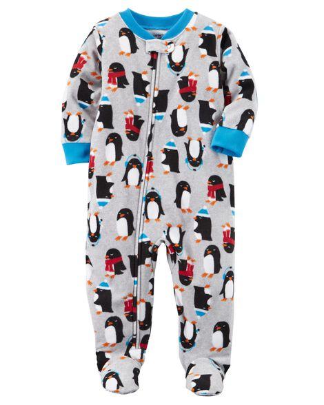 9e4430cbfe6a 1-Piece Penguin Fleece PJs