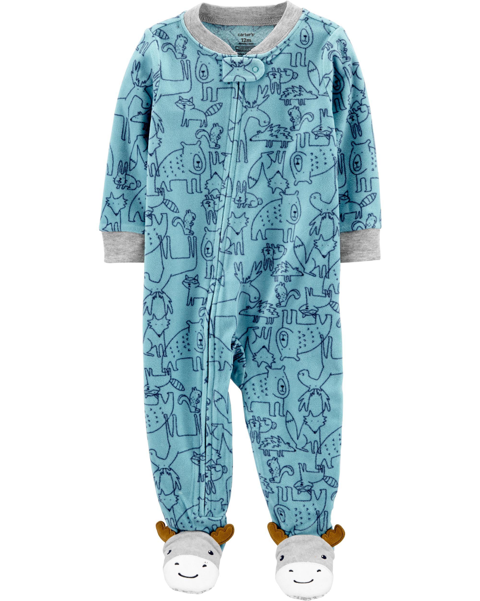 Baby Boy Fleece Footed Carters Sleeper Pajamas Size 4T