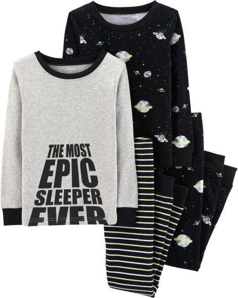 4-Piece Space Snug Fit Cotton PJs
