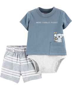 90609ecec 2-Piece Double-Decker Bodysuit & Striped Short Set