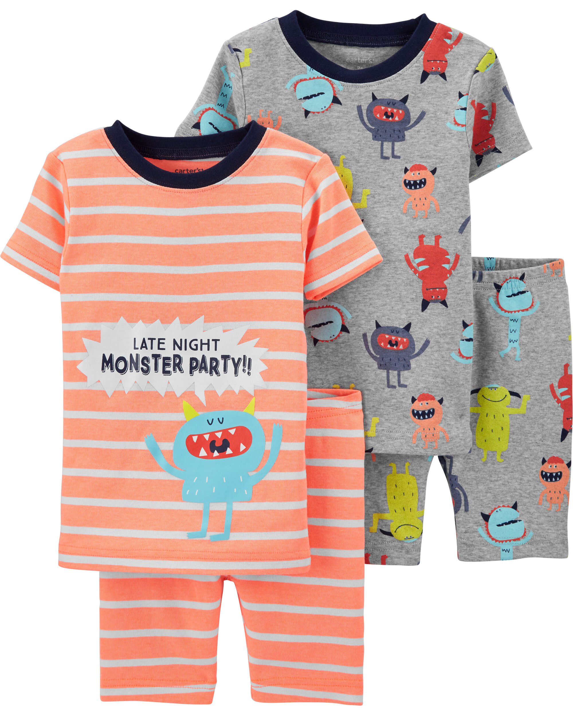 Carter/'s Baby Toddler boy Skating Racoon Tee Pants Shorts Snug pajamas 4pc set