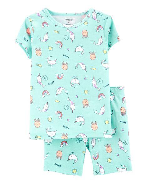 4-Piece Narwhal Snug Fit Cotton PJs