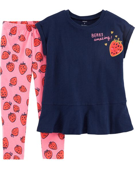 2-Piece Sequin Strawberry Top & Legging Set