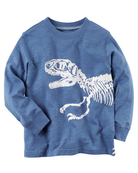 4329a188f Long-Sleeve Skeleton Dinosaur Graphic Tee