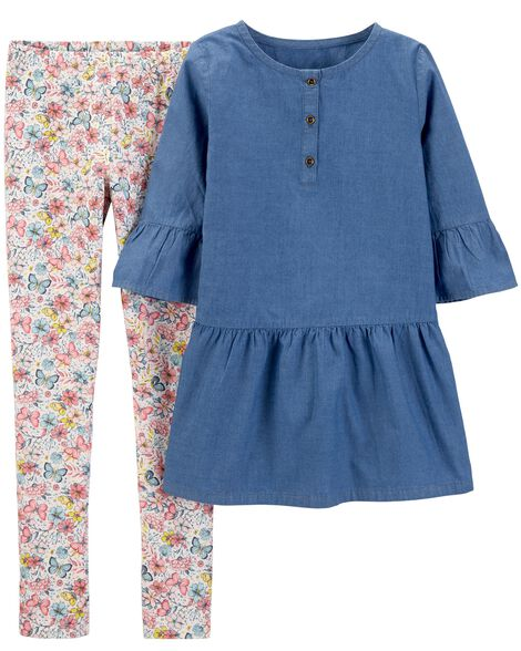 2-Piece Chambray Bell-Sleeve Top & Floral Legging Set