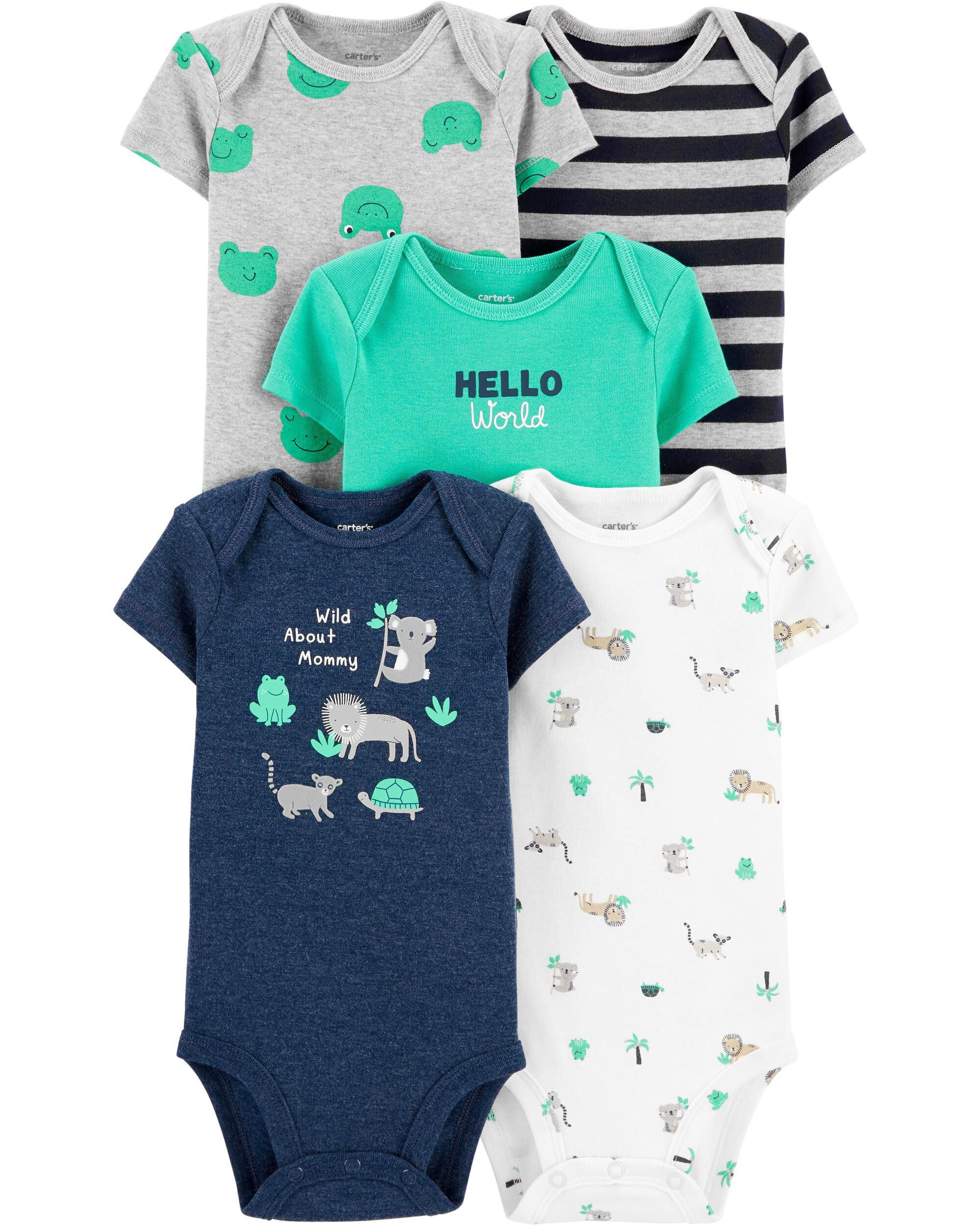 *CLEARANCE* 5-Pack Short-Sleeve Bodysuits