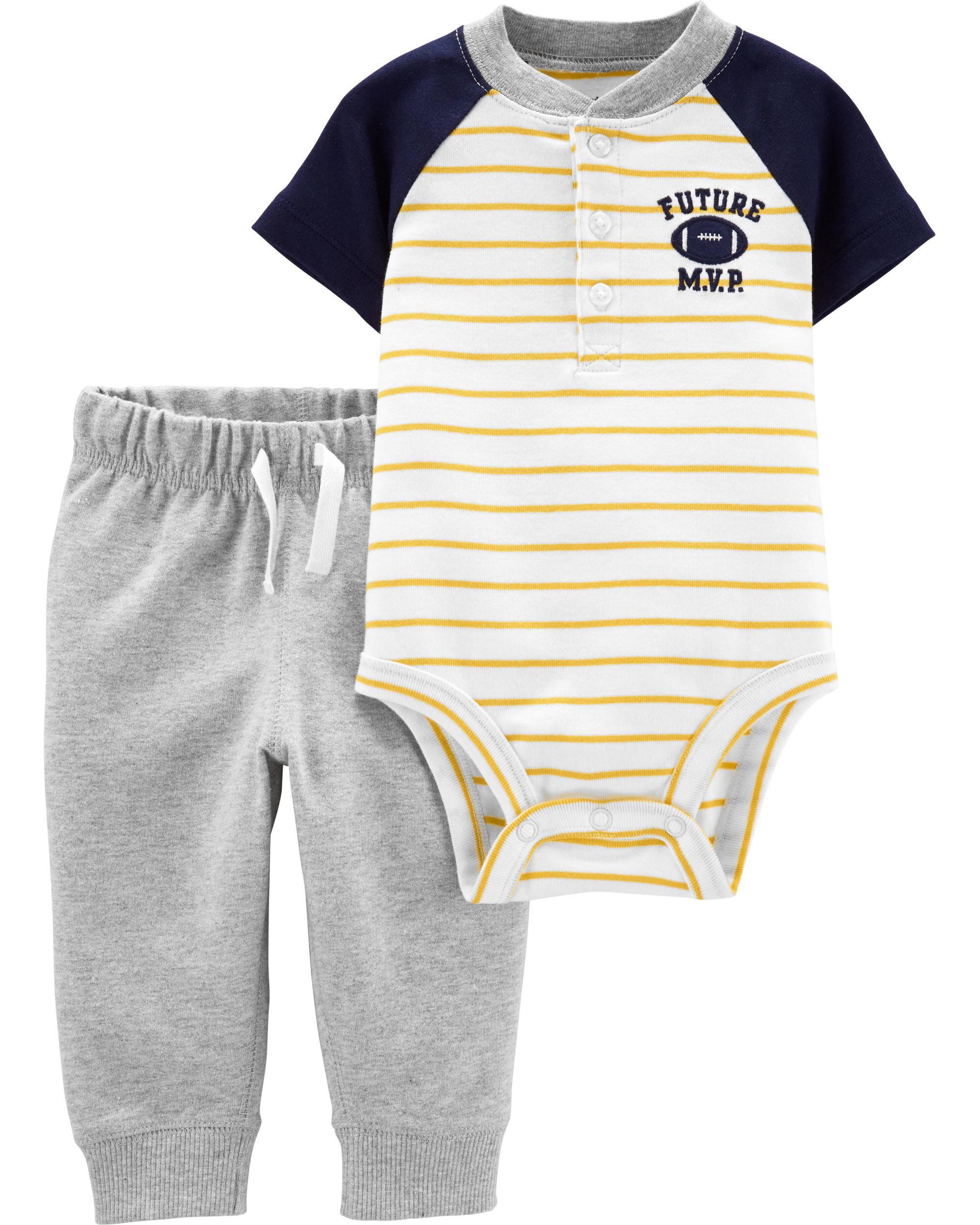 *CLEARANCE* 2-Piece Football Henley Bodysuit Pant Set