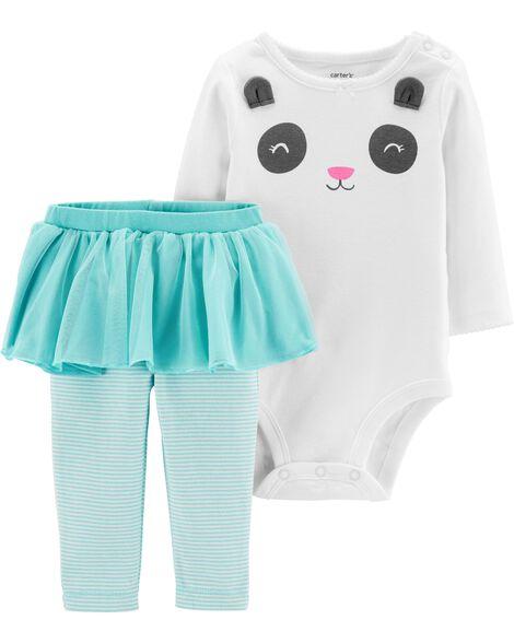 2-Piece Panda Bodysuit & Tutu Pant Set