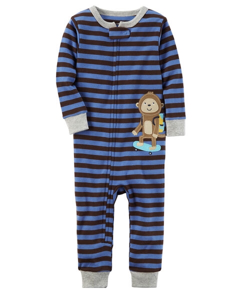 b8c1a34e0667 1-Piece Monkey Snug Fit Cotton Footless PJs