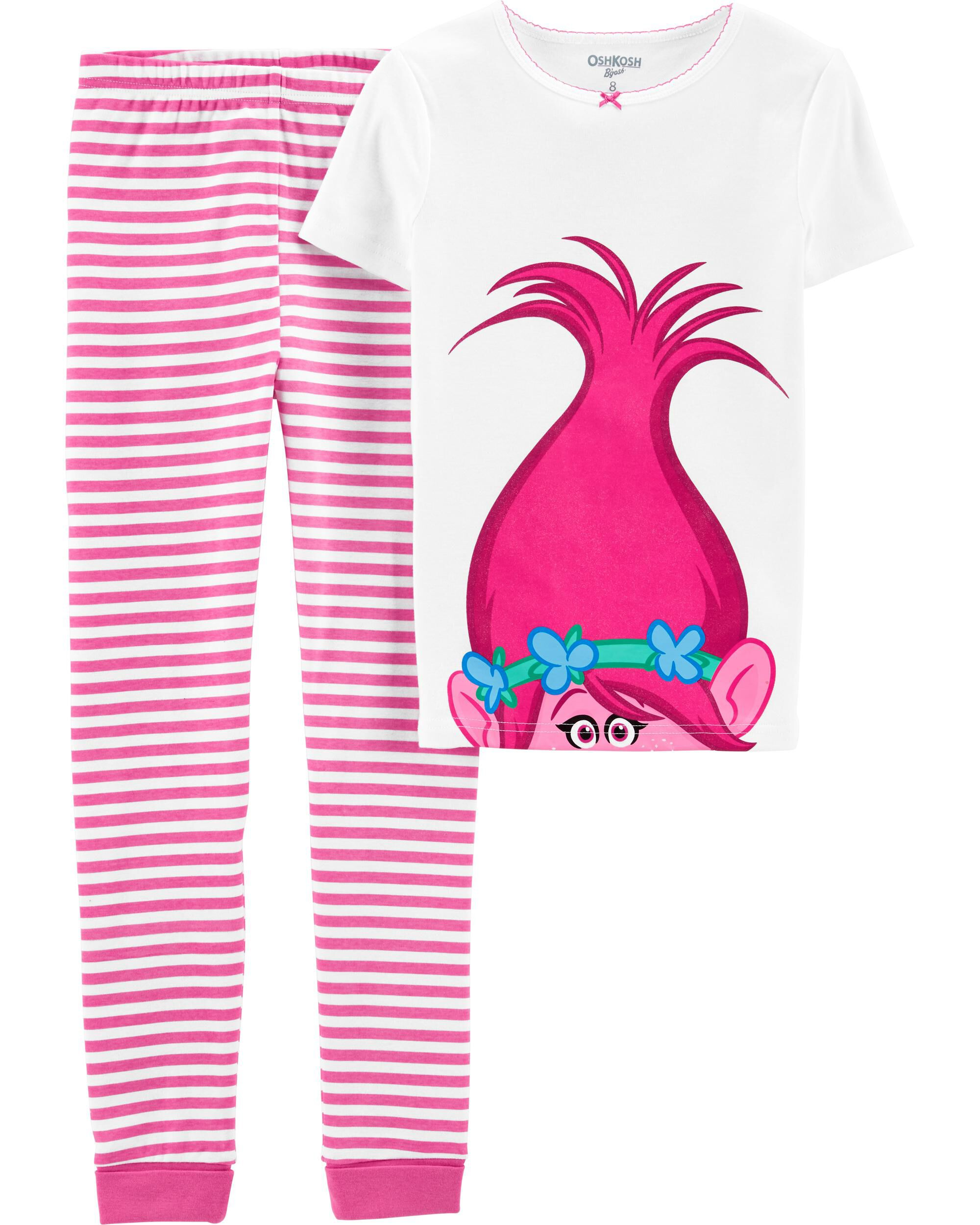 Girls Kids Official Trolls Poppy White Dark Pink Short Sleeve Pyjamas PJs