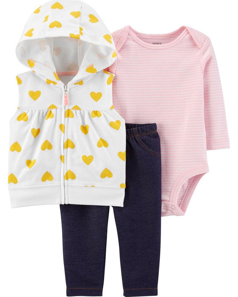 Carters Girls 12M-12 3-Piece Super Ready Pajama Set