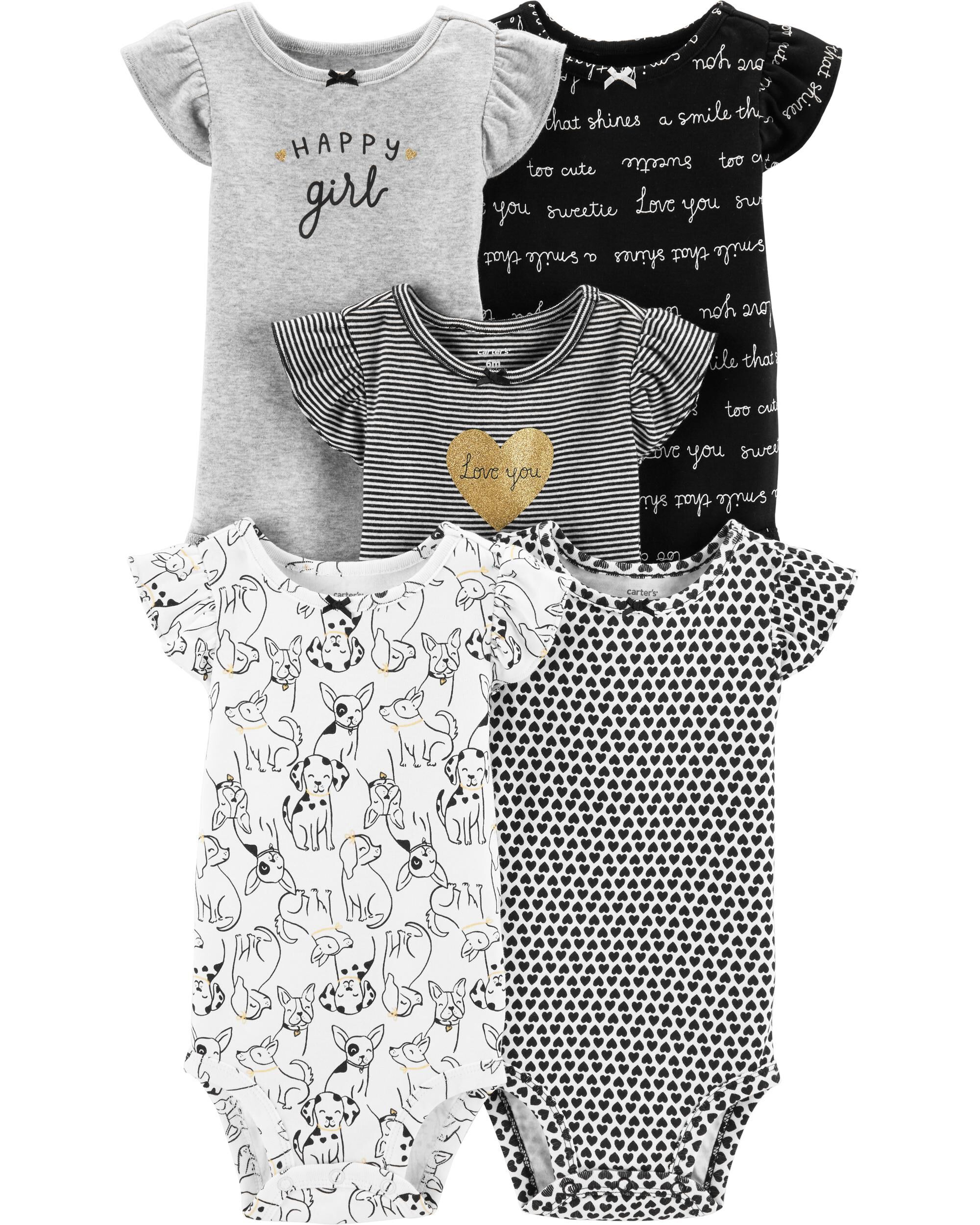 5 Baby Girl Short Sleeved Body Suits 100% Cotton Girls' Clothing (newborn-5t)