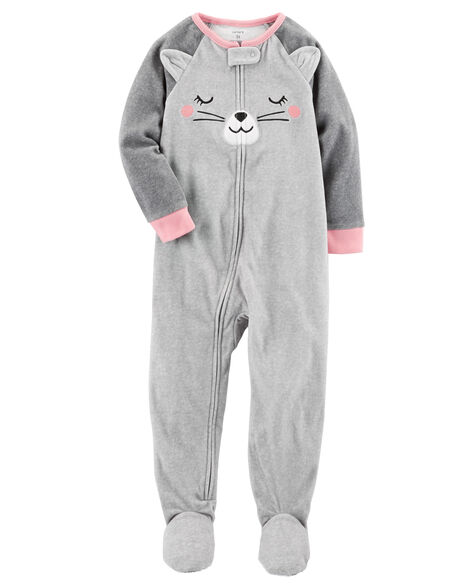 d4dd40738ee8 1-Piece Cat Fleece PJs