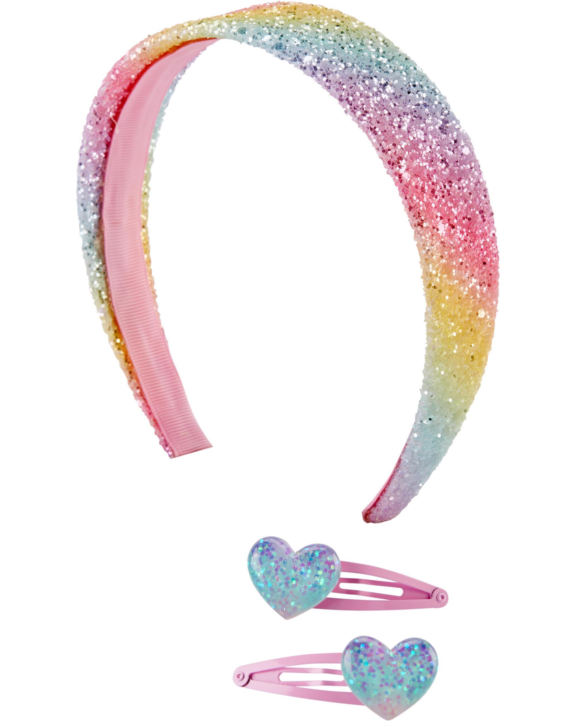 3-Pack Rainbow Headband & Hair Clips Set