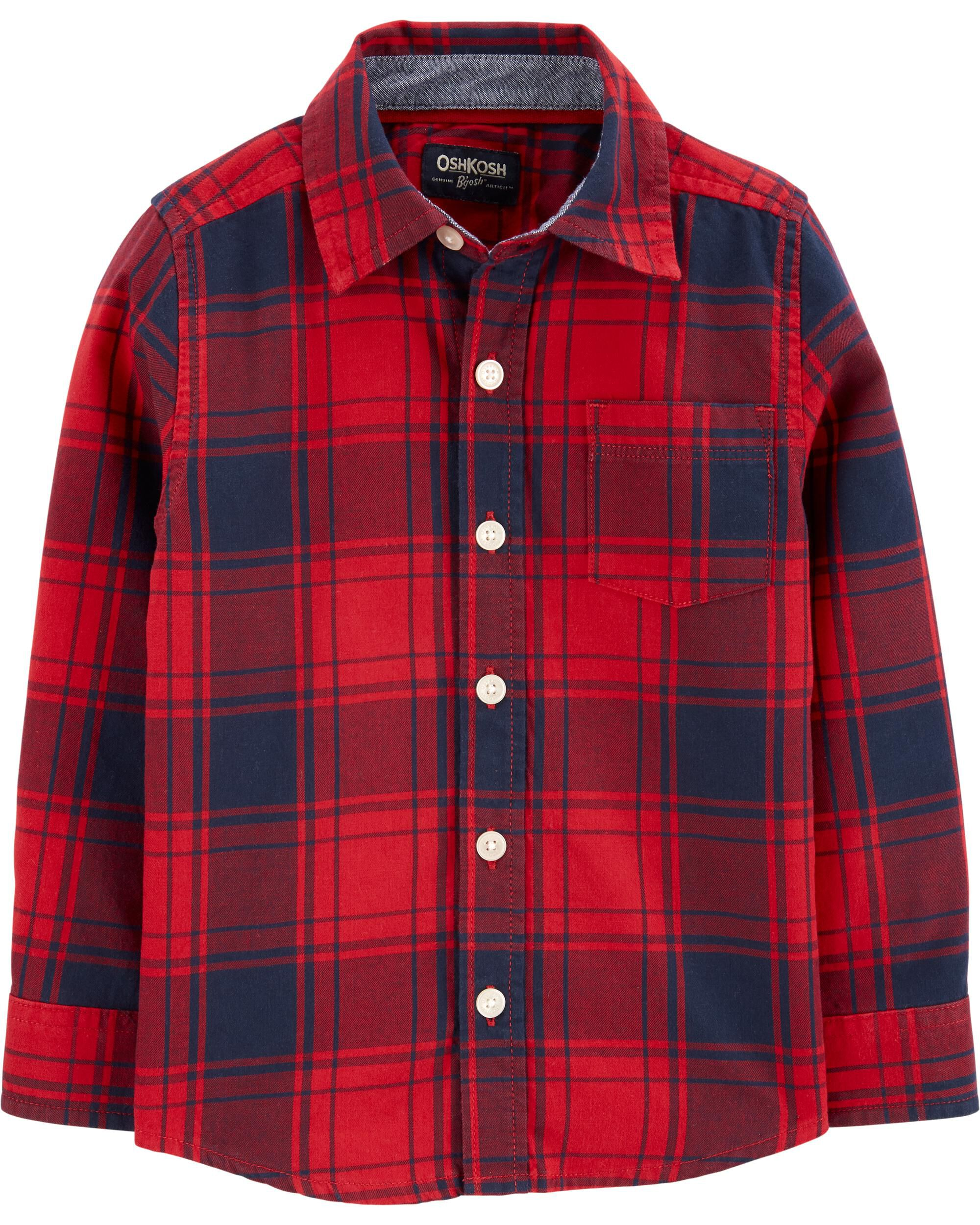*CLEARANCE* Plaid Flannel Button-Front Shirt