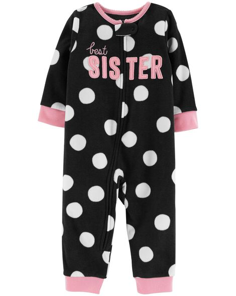 908317c3e 1-Piece Best Sister Fleece Footless PJs | Carters.com