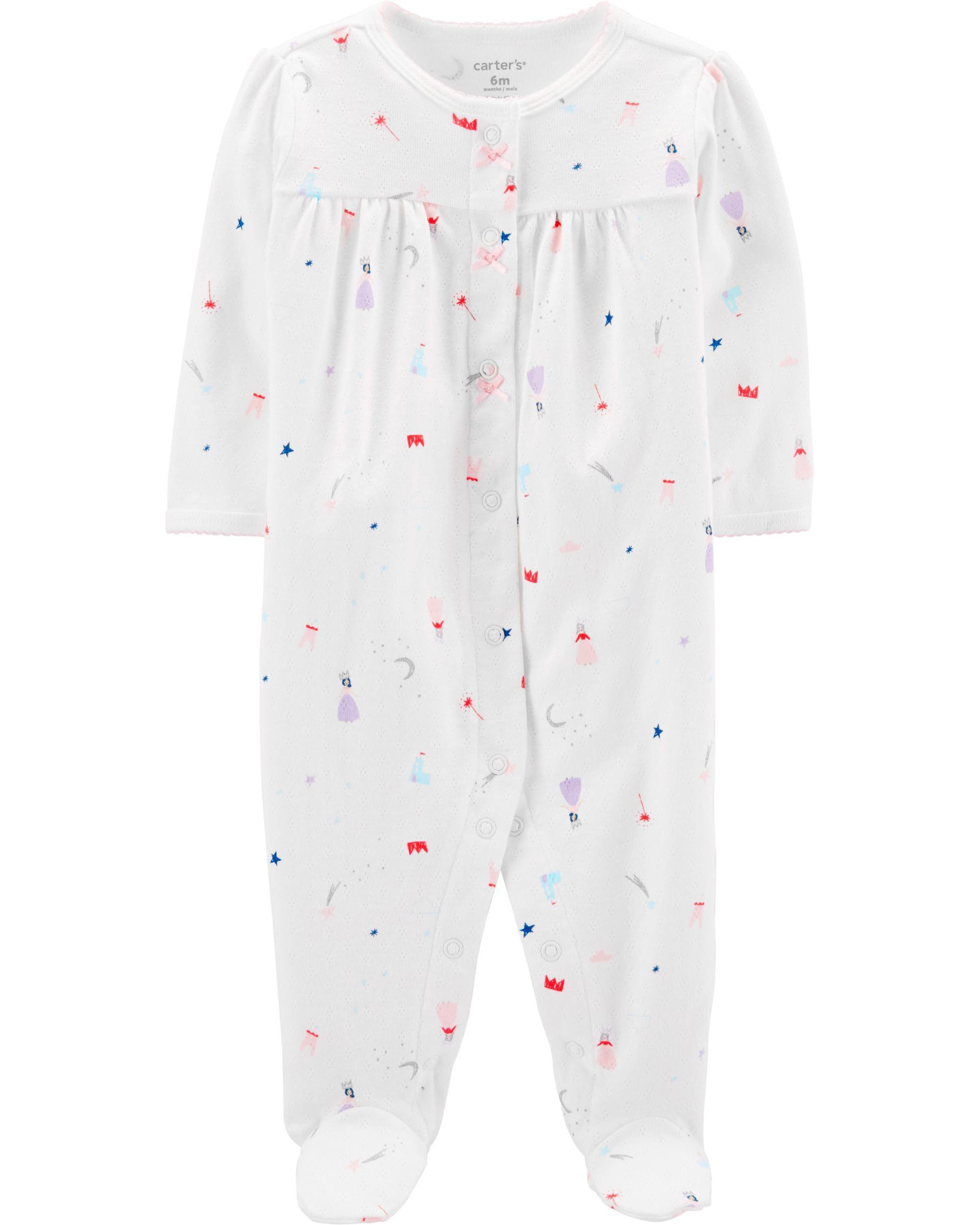 Carters Girls 18M-4T Princess Print One Piece Cotton Pajamas
