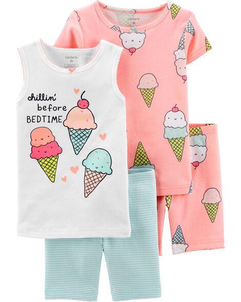 0add4fc7ebe3 4-Piece Ice Cream Snug Fit Cotton PJs