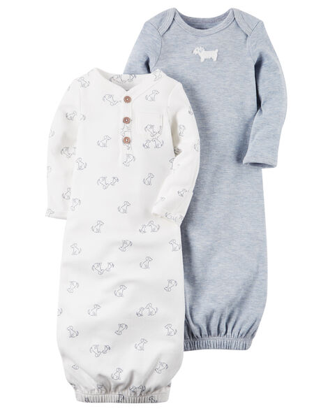 170e49816 2-Pack Babysoft Heathered Sleeper Gowns