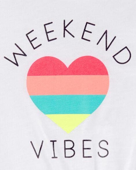 Weekend Vibes Tie Waist Slub Tee