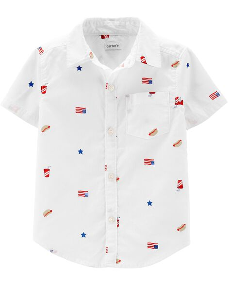 4th Of July Button-Front Shirt