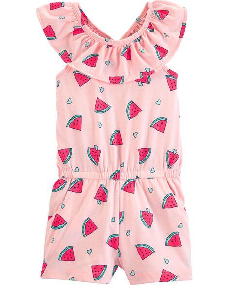 Watermelon Ruffle Jersey Romper