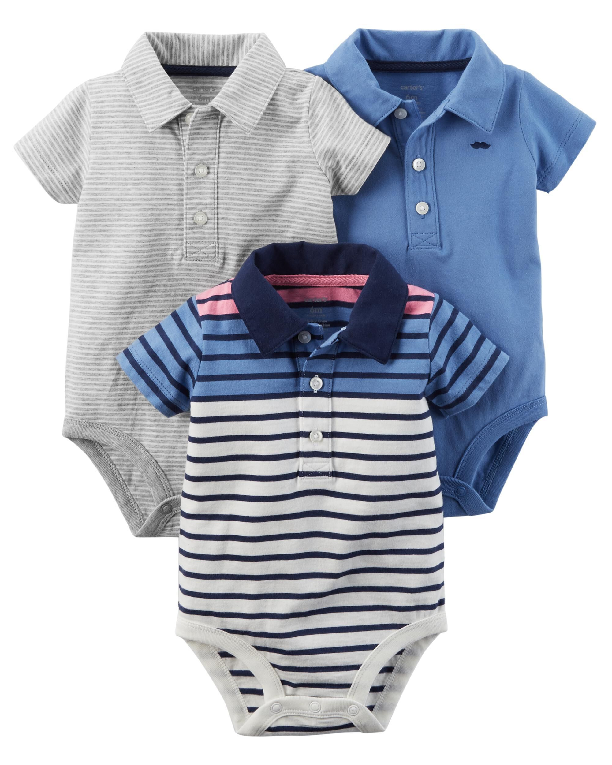 3 Pack Polo Style Bodysuits