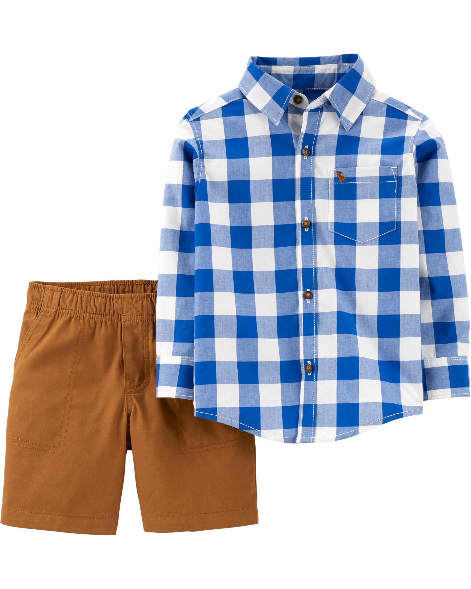 *CLEARANCE* 2-Piece Checkered Button-Front Top & Canvas Short Set