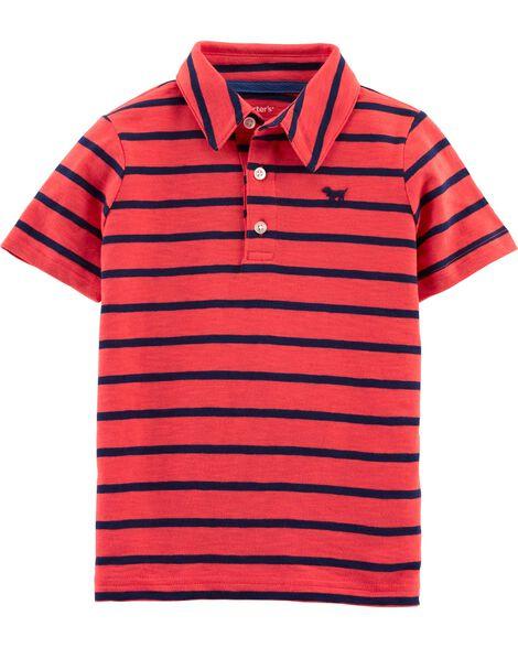 Striped Dog Slub Jersey Polo