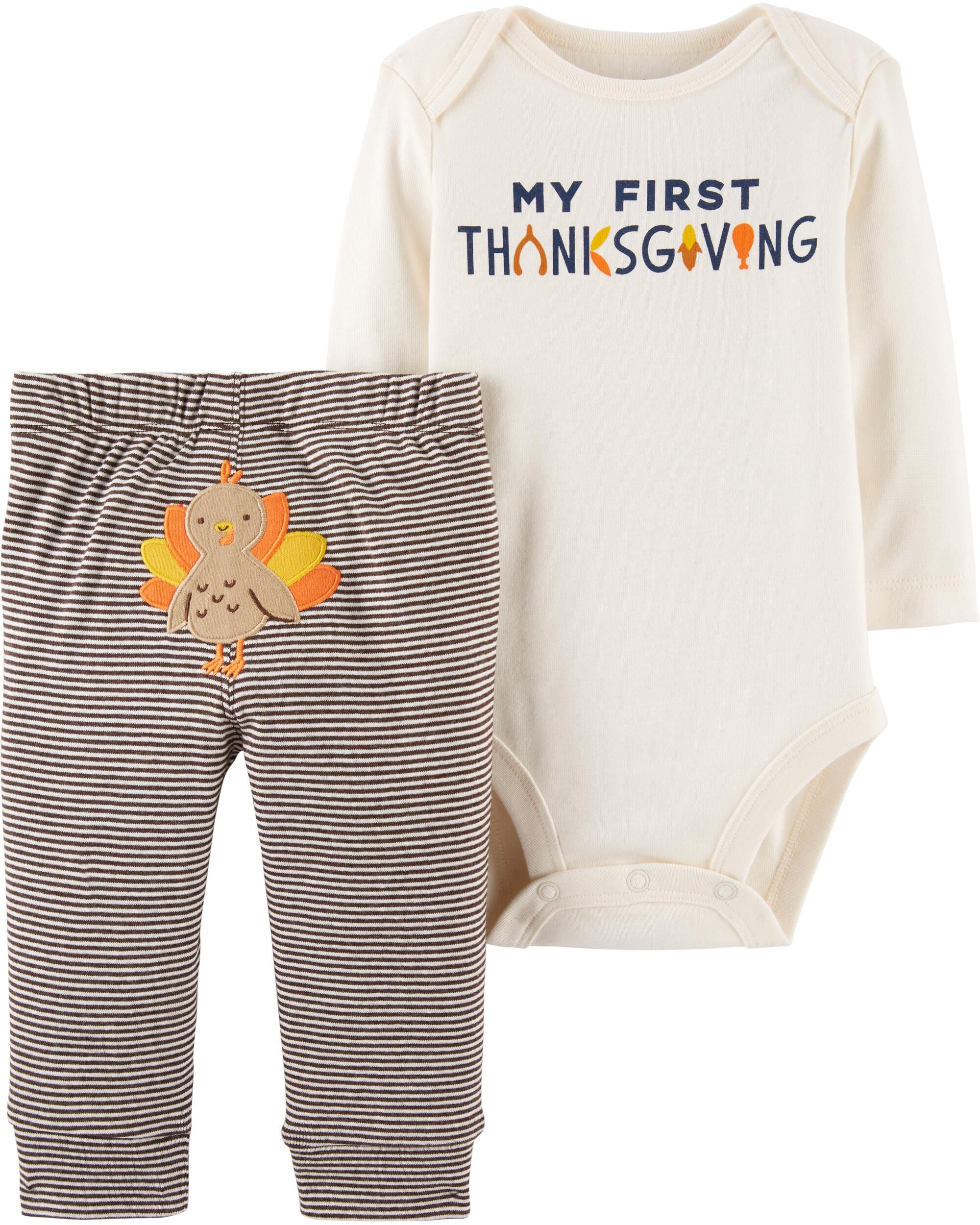New Carter/'s Thanksgiving Boys Outfit Bodysuit Top /& Pants Set NWT preemie 18m