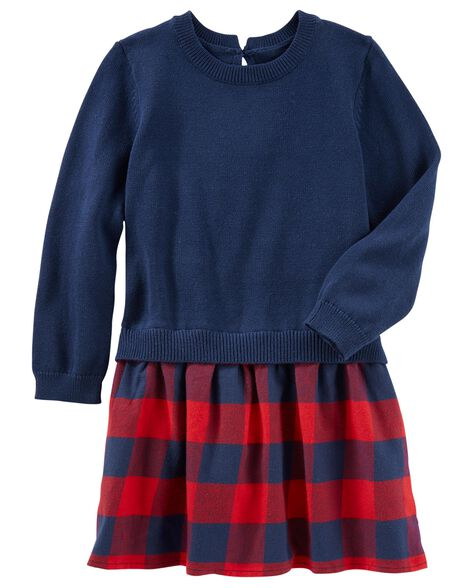 947f2a5aea8 Toddler Girl Plaid Flannel Sweater Dress