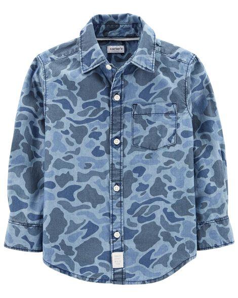 Camo Chambray Button-Front Shirt