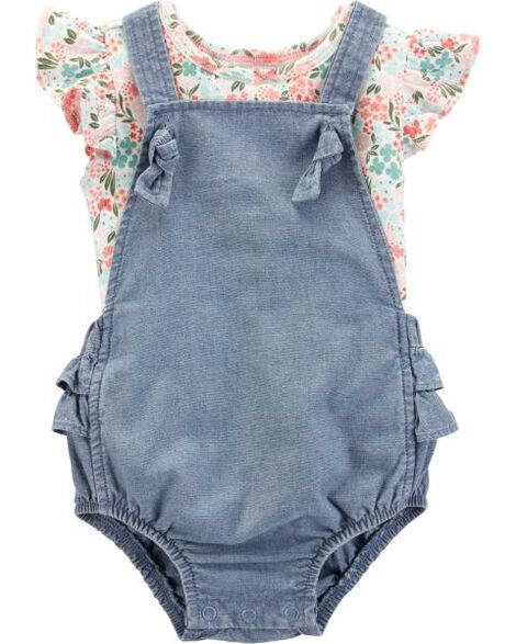 04745aac15db 2-Piece Floral Tee   Bubble Romper Set ...
