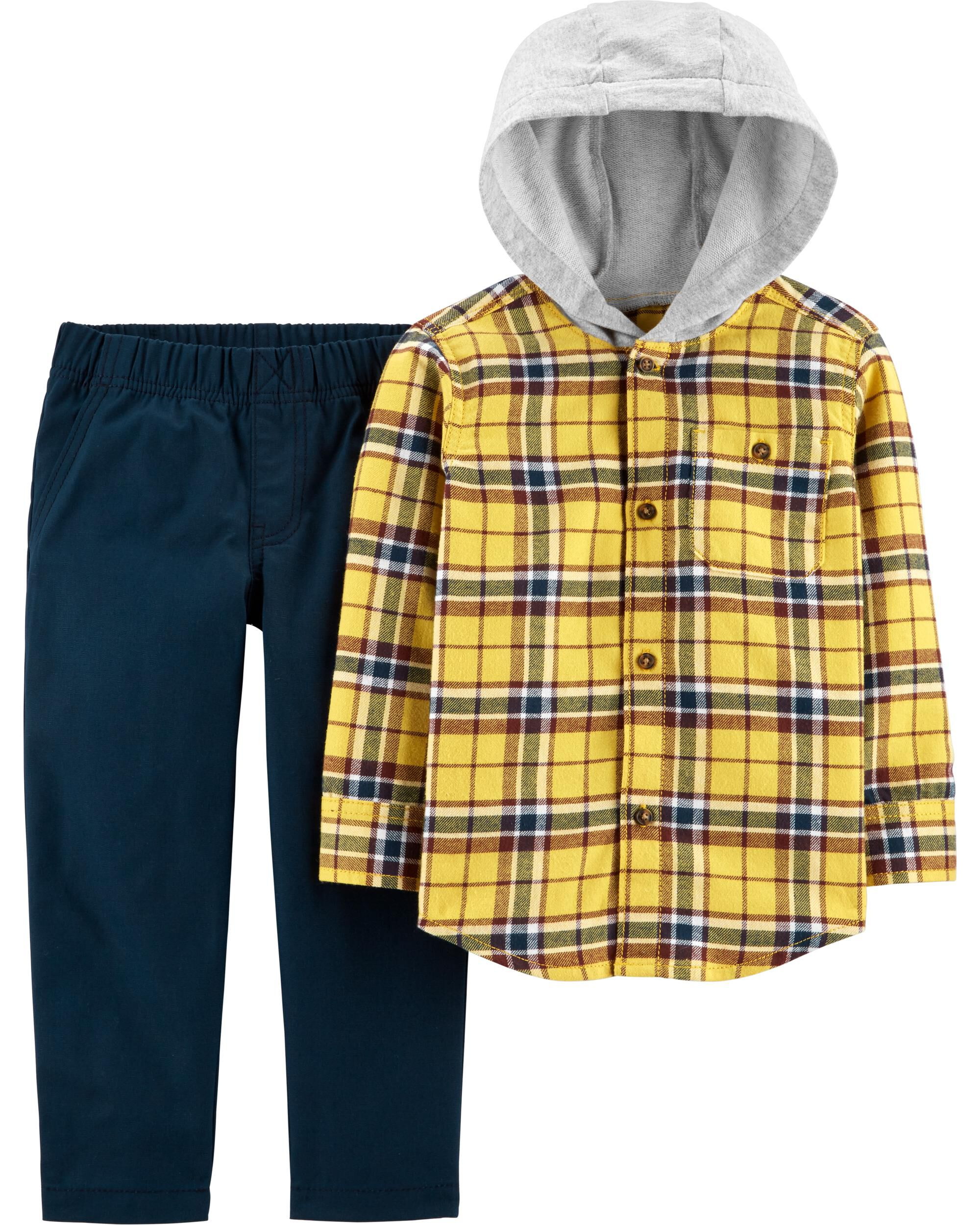 2-Piece Button-Front Flannel Hooded Top & Canvas Pant Set