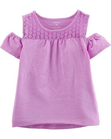 123675c83 Crocheted Cold Shoulder Slub Tee