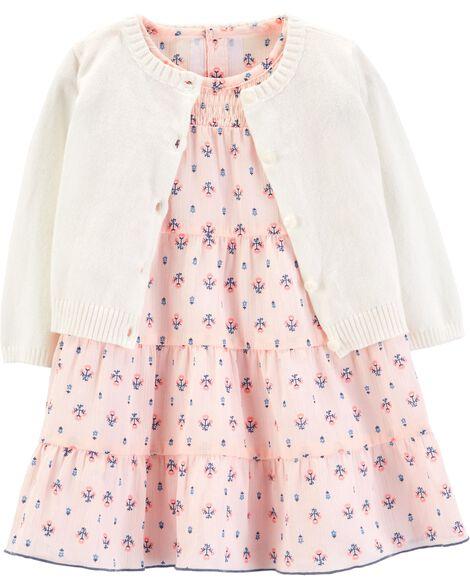 2c6d9359e 2-Piece Floral Dress   Cardigan Set
