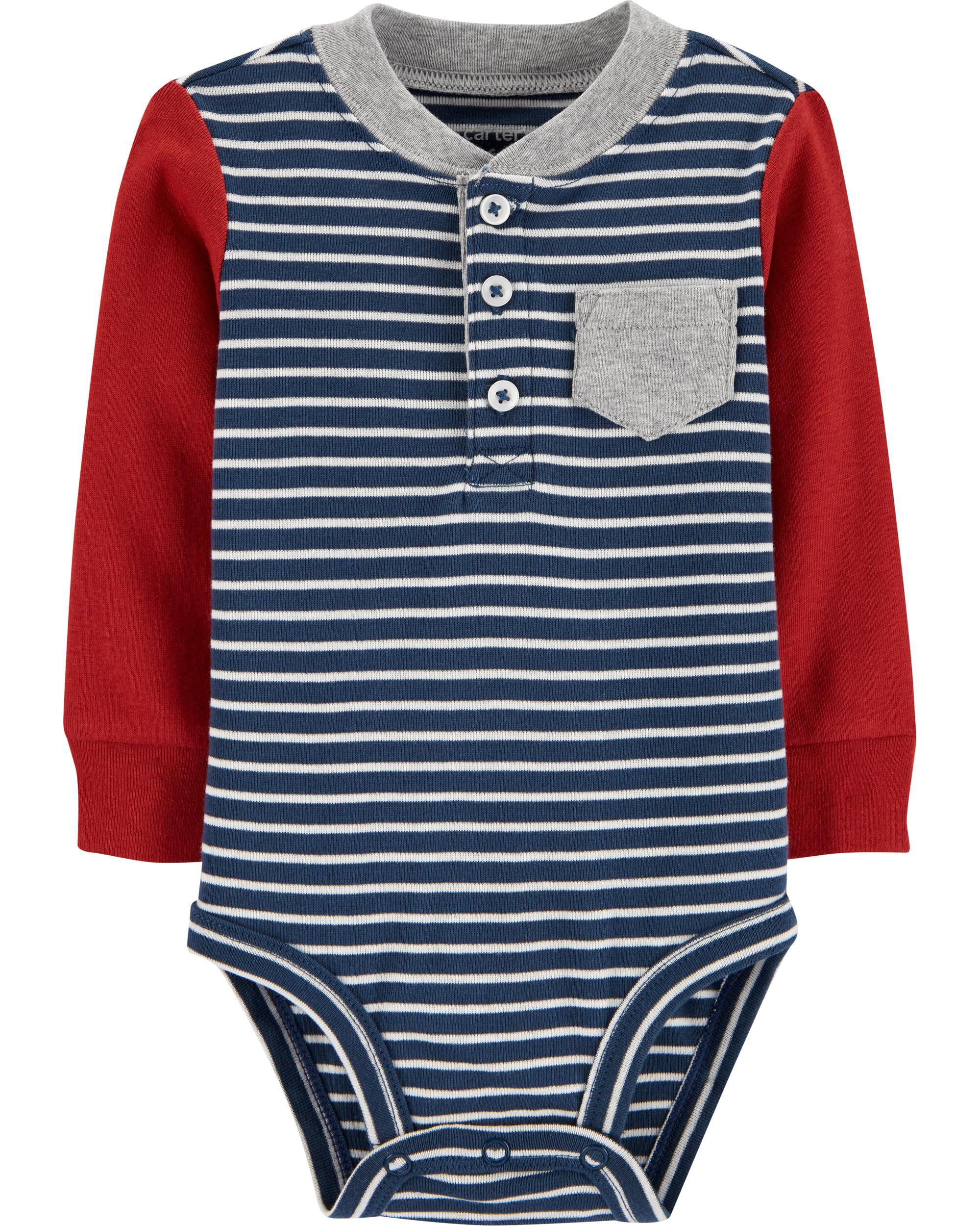 *DOORBUSTER* Striped Henley Bodysuit