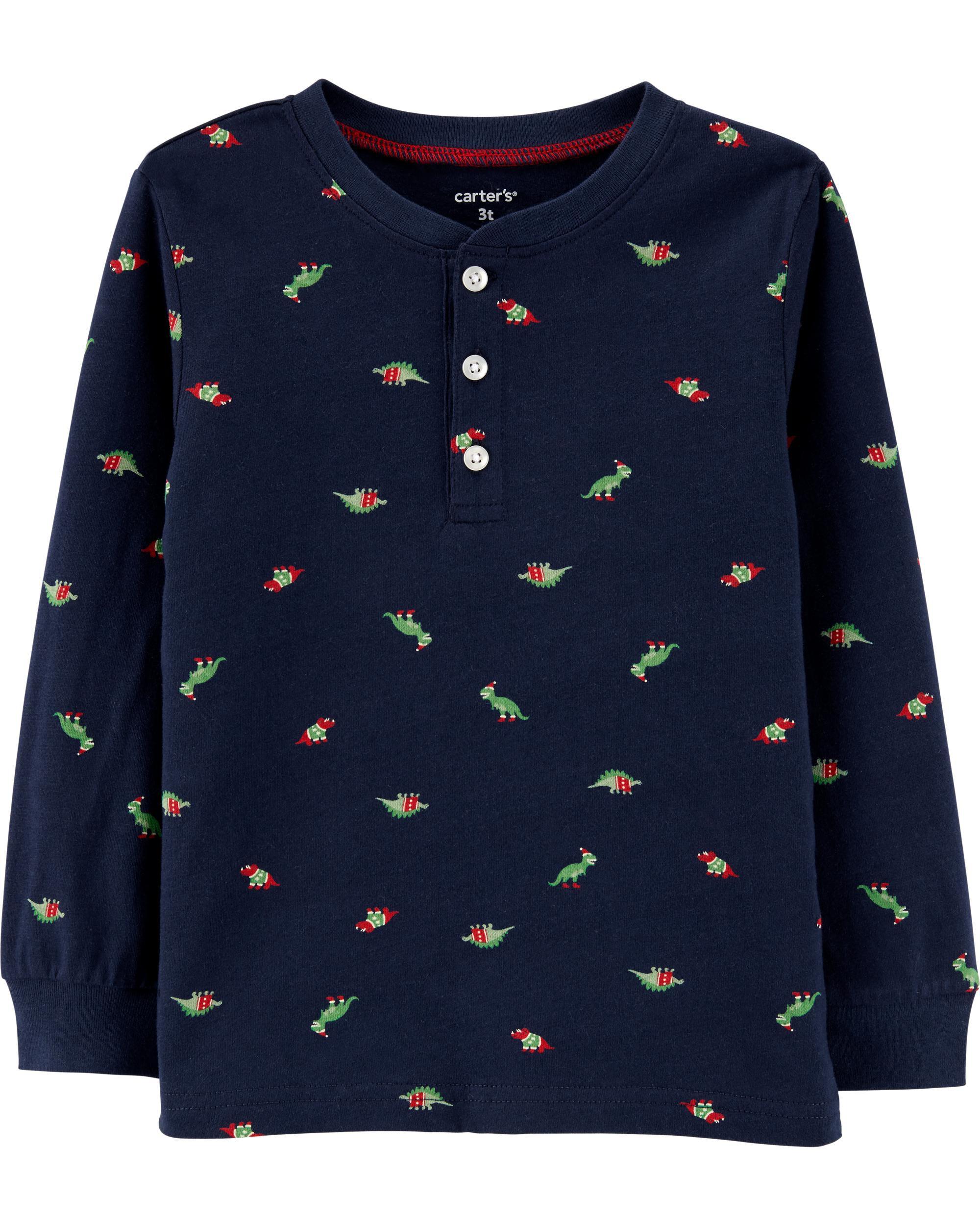*CLEARANCE* Christmas Dinosaurs Henley Tee