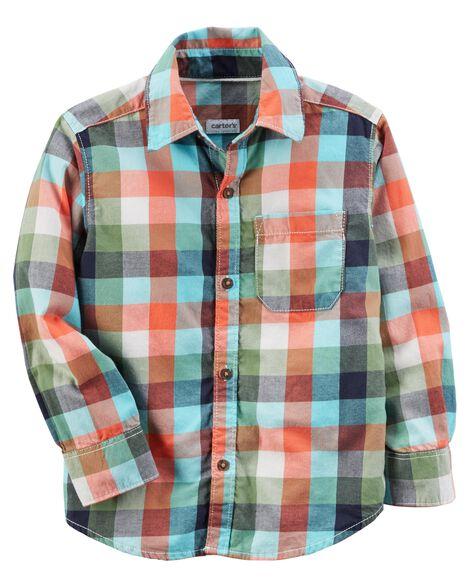 a4102624b Plaid Button-Front Shirt