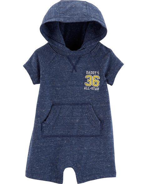 Hooded Marled Yarn Romper