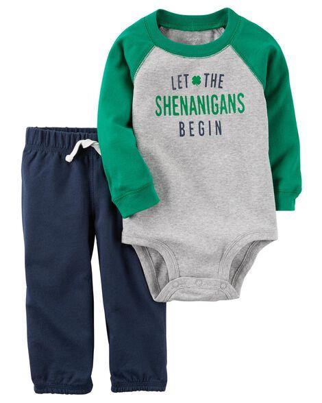 2-Piece St. Patrick's Day Bodysuit Pant Set