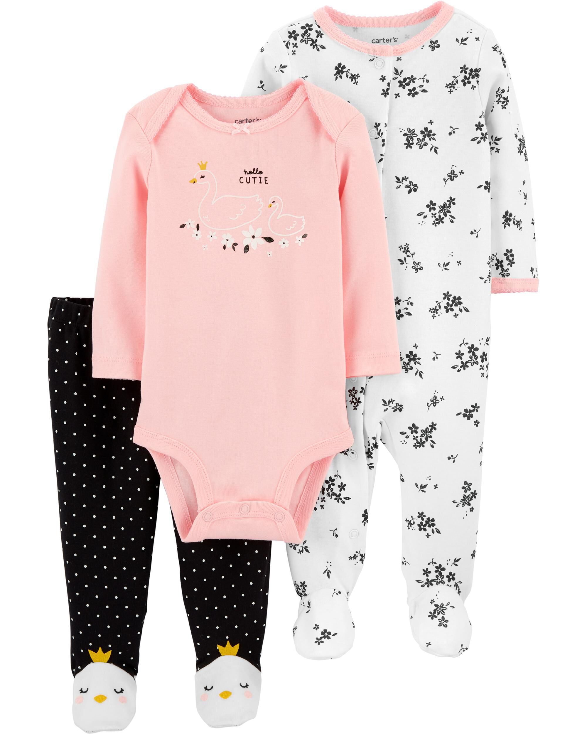 *CLEARANCE* 3-Piece Swan Bodysuit & Footed Pant Set