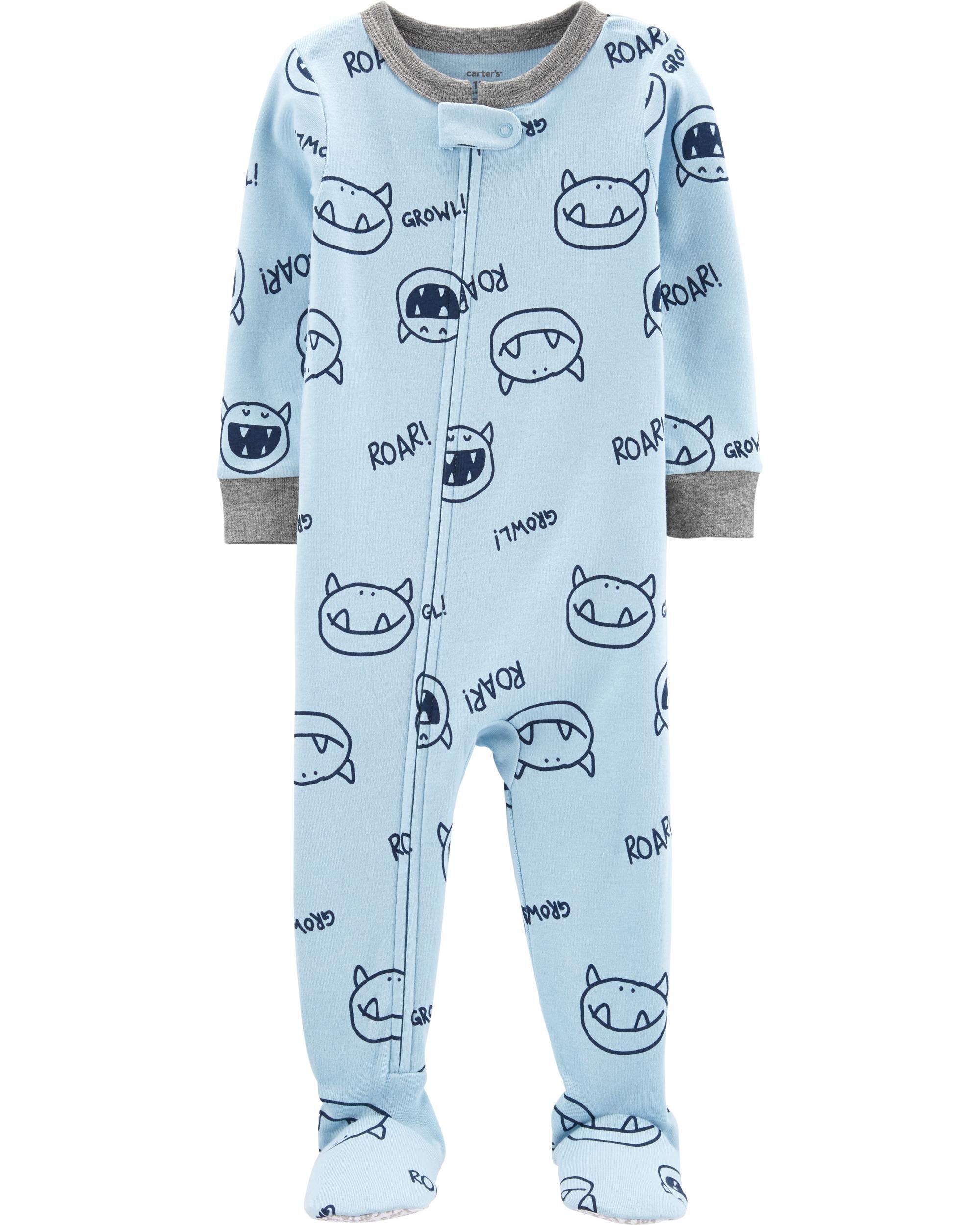 1-Piece Monster Cotton Footie PJs