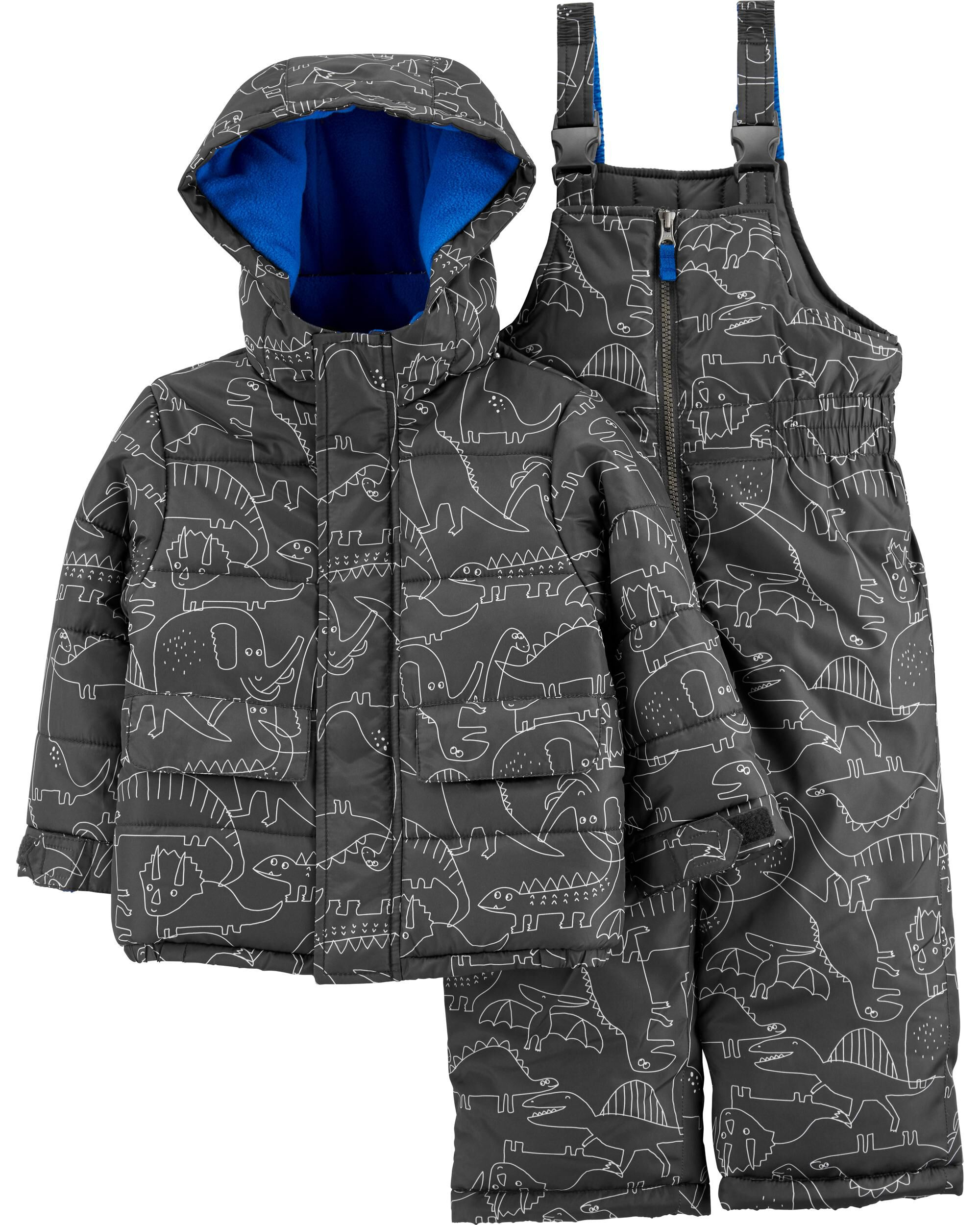 2-Piece Dinosaur Parka & Snow Bib Set