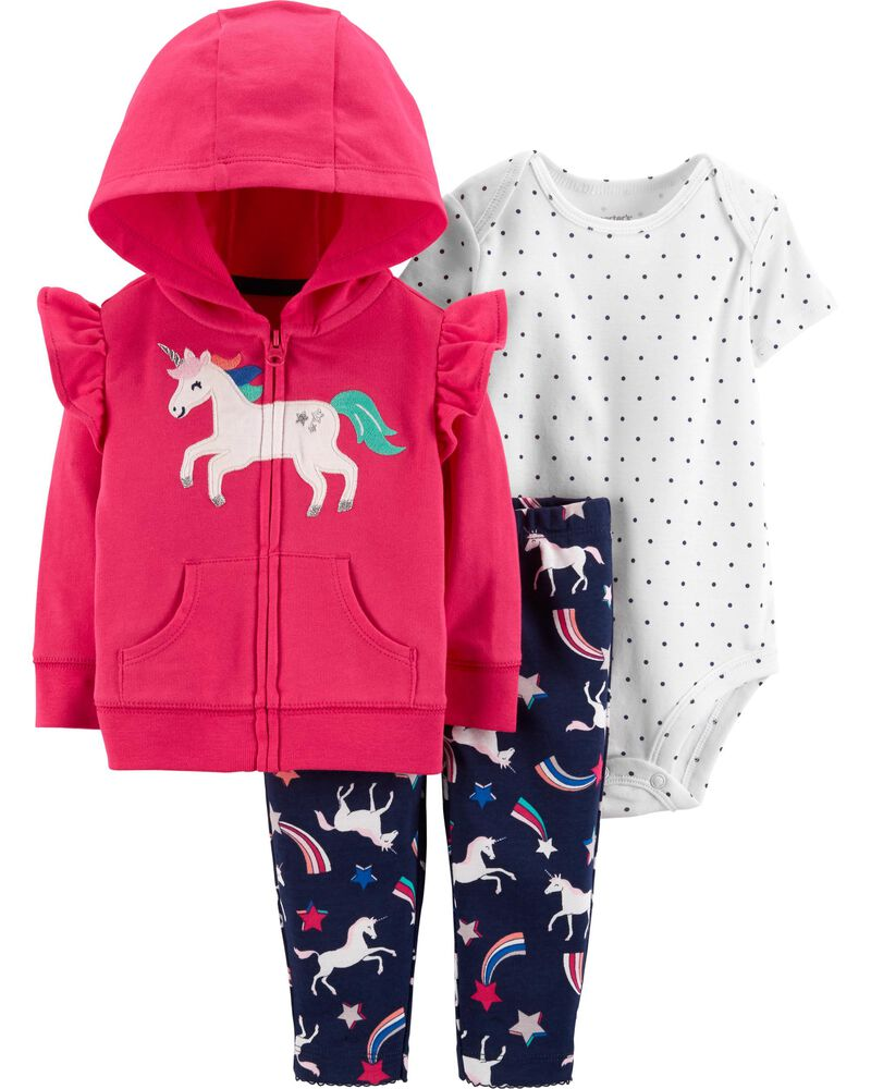 Pant Carter/'s 3 Piece Unicorn Set for Baby Girls Jacket One-Piece Bodysuit